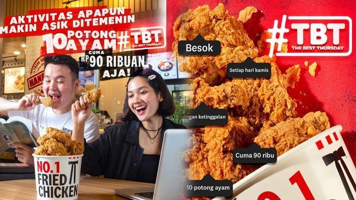 Cuma Hari Kamis Promo KFC TBT 90 Ribuan Dapat 10 Ayam Goreng KFC Makan Ramai-ramai