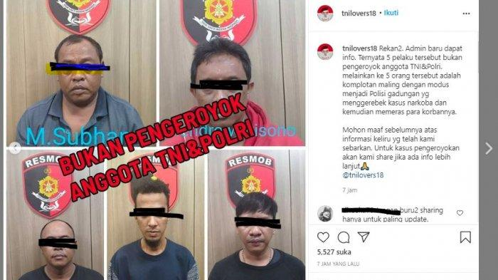 Sempat diberitakan penangkapan 5 orang pengeroyok anggota TNI dan Polri di Obama Cafe, Kawasan melawai, Kebayoran baru, ternyata 5 orang diatas bukan pelaku pengeroyokan