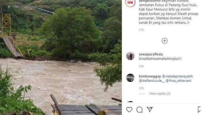 Diduga Kelebihan Beban & Sengaja Digoyang-goyangkan, Jembatan Gantung di Obyek Wisata Bengkulu Putus