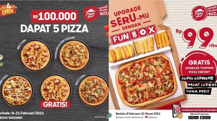PromoPizzaHut Hari Ini 21 Februari 2021, Beli 5 pizza Cuma Rp 100 Ribu, Funbox Hanya Rp 99 Ribu
