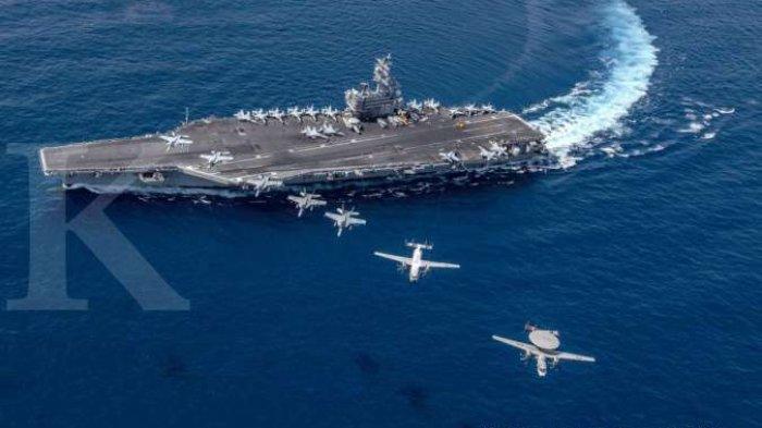 Ilustrasi kapal induk AS di Laut China Selatan.