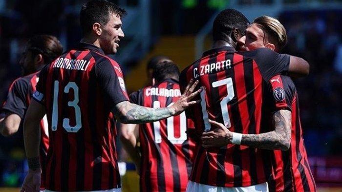 Selebrasi pemain AC Milan