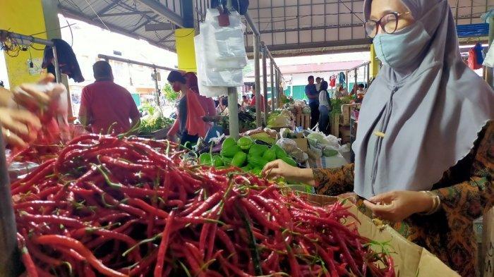 pedagang cabai merah di Pasar Angso Duo Jambi