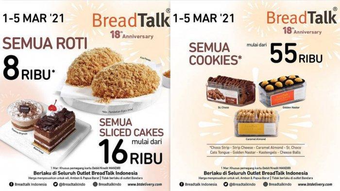 Promo BreadTalk Hari Ini 2 Maret 2021 Aneka Roti Dari Harga Rp 8.000, Cake Utuh Mulai Rp 129.000