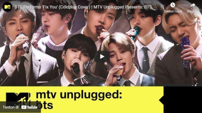 BTS saat live MTV Unplugged menyanyikan lagu Fix You