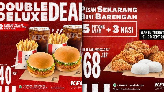 Promo KFC sampai 30 September 2020 - 5 Ayam dan 3 Nasi Rp 68.182 atau Double Deluxe Deal Rp 40.909