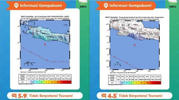 Gempa Hari Ini - Pangandaran Kembali Diguncang Gempa Magnitudo 4,5 Senin (26/10), Sebelumnya 5,9 SR