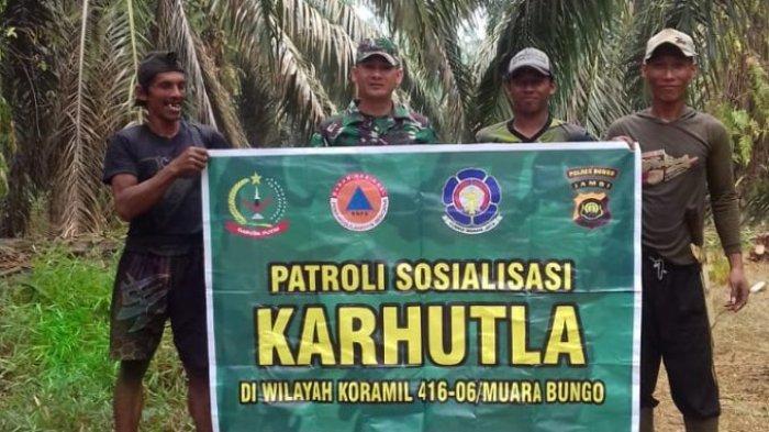 Cegah Kebakaran Lahan, Babinsa di Jajaran Kodim 0416/Bute Rutin Patroli Karhutla