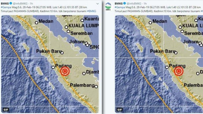 Gempa Hari Ini - Dua Kali Gempa Bumi Terjadi di Sumbar Kamis (28/2/2019), Di Solok Selatan & Pasaman