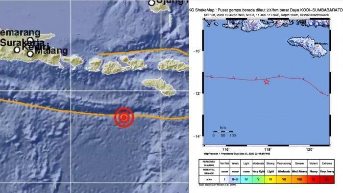 Gempa Hari Ini - Gempa Bermagnitudo 5,3 Guncang Sumba Barat Daya NTT, Dirasakan Denpasar dan Mataram