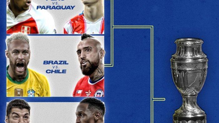 Jadwal Laga 8 Besar Copa Amerika 2021 - Uruguay vs Kolombia, Argentina vs Ekuador, Brazil vs Chile