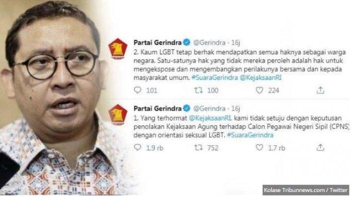 LENGKAP Begini Debat Panas Fadli Zon VS Akun Partai Gerindra Soal Diskriminasi LGBT Pada Tes CPNS