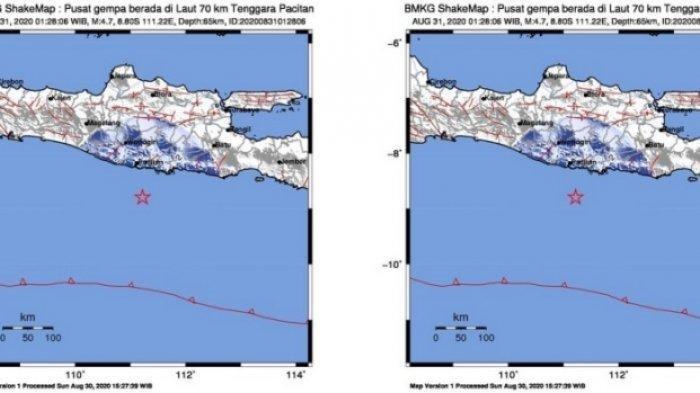 Gempa Hari Ini Senin (31/8) Bermagnitudo 4,7, Berpusat di Tenggara Pacitan