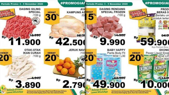 Promo Giant Weekday 5 November 2020, Susu Yoghurt Daging Baju dan Sayur, Bisa via WhatsApp