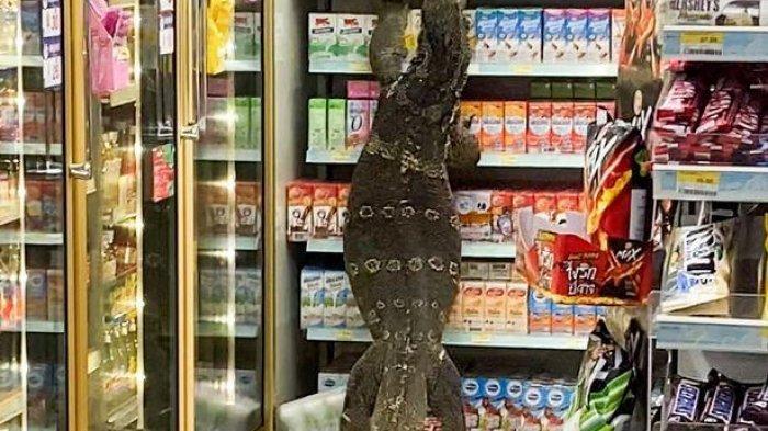 Penampakan Biawak Berukuran Besar Masuk ke Minimarket, Pengunjung Tak Berani Mendekat