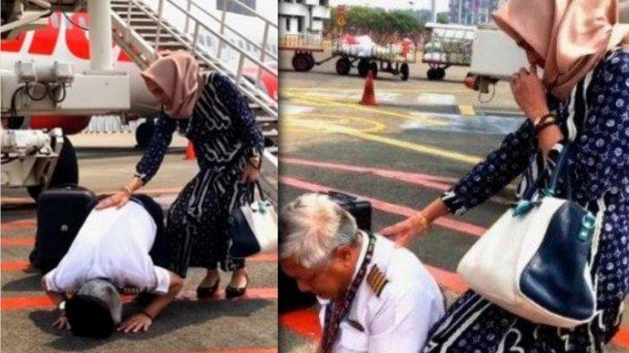 Bersujud Dibawah Pesawat dengan Istri, Kapten Sigit Menangis di Penerbangan Terakhirnya, Ini Katanya