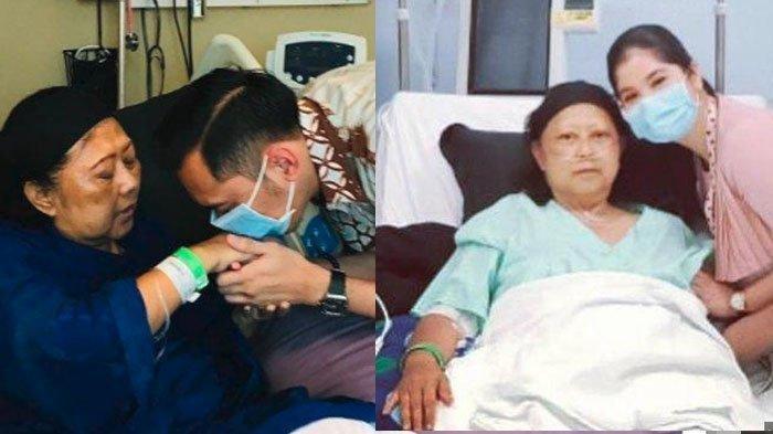 Agus Harimurti Yudhoyono (AHY) mencium tangan ibunya, Ani Yudhoyono. Annisa Pohan menjenguk Ani Yudhoyono