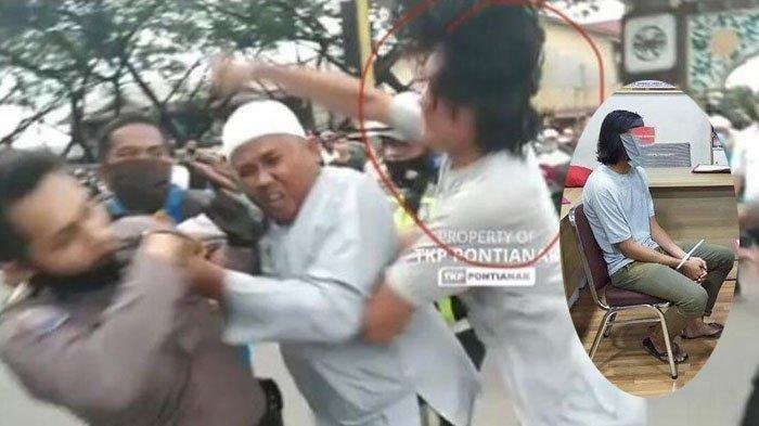 Polisi menangkap seorang pemuda yang menyerang polisi saat membubarkan aksi 1812 di Kota Pontianak, Kalimantan Barat ( Kalbar ), Jumat (18/12/2020).