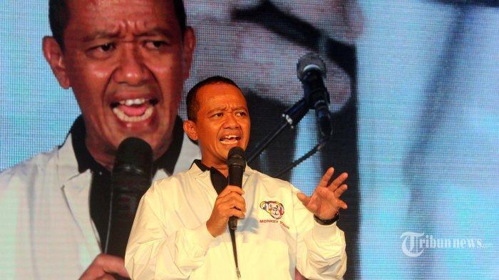 Direktur Tim Kampanye Nasional (TKN) Milenial, Bahlil Lahadalia sedang memberikan sambutan di acara Syukuran Kemenangan Pilpres 2019 bertajuk Panggung Gemb1ra di The Pallas, Jakarta, Minggu (21/04/2019).