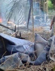 Bekas Sumur Ilegal Drilling di Bahar Selatan, Muarojambi, Terbakar