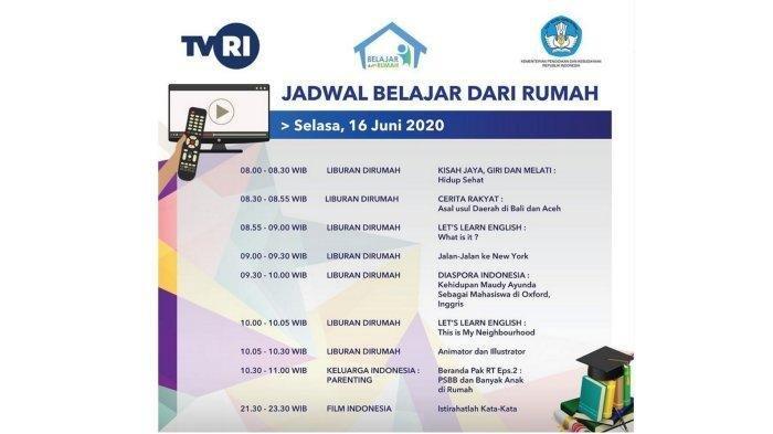 Jadwal Tayangan Edukatif di TVRI SD Kelas 1-3, 4-6, SMP dan SMA, Selasa 16 Juni 2020, Simak Temanya