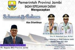 BKD Provinsi Jambi Ucapkan Selamat dan Sukses Pelantikan Gubernu dan Wakil Gubernur Jambi