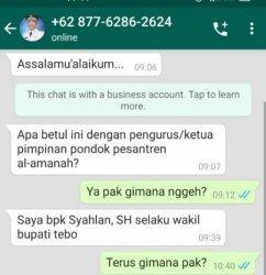 Awas Penipuan! Nomor WhatsApp Wakil Bupati Tebo Palsu Beredar