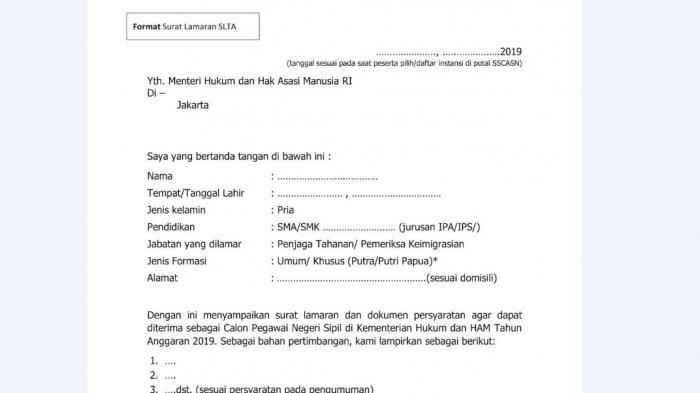 Contoh Surat Lamaran Cpns 2019 Dan Surat Pernyataan Untuk Pelamar Sma S1 S2 Dan Diploma Halaman All Tribun Jambi