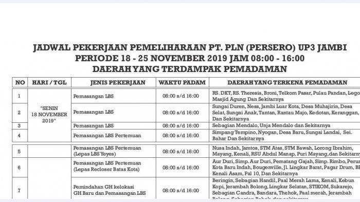 Siap-siap, Jadwal Pemadaman Aliran ListriK PLN UP3 Jambi 18-25 November 2019