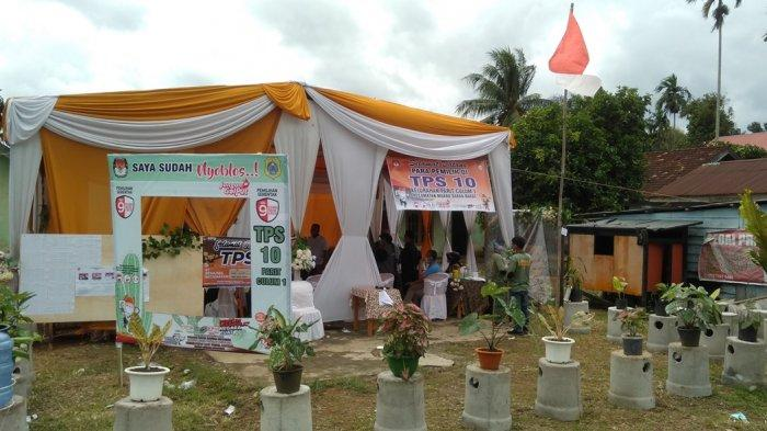 TPS Unik di Tanjab Timur, Demam Aglonema Jadi Inspirasi untuk Hias Tempat Nyoblos