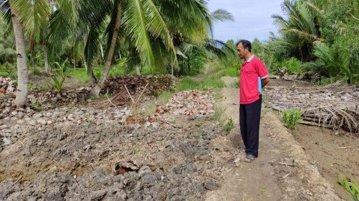 Warga berada di dekat tanggul program pemerintah di Desa Alang Alang, Kabupaten Tanjung Jabung Timur yang mulai jebol.