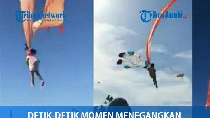 Penonton Histeris, Video Viral Detik-detik Bocah Melayang di Udara Terlilit Buntut Layang-layang