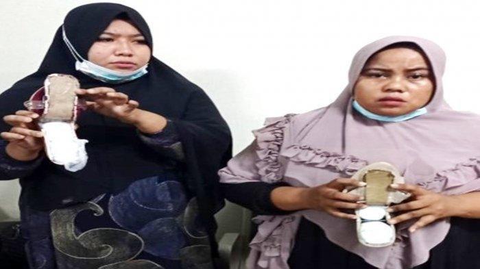 Dua Emak-emak Asal Aceh Nekat Selundupkan 1,3 Kilogram Sabu di Sandal Berhak Tinggi di Bandara KNIA