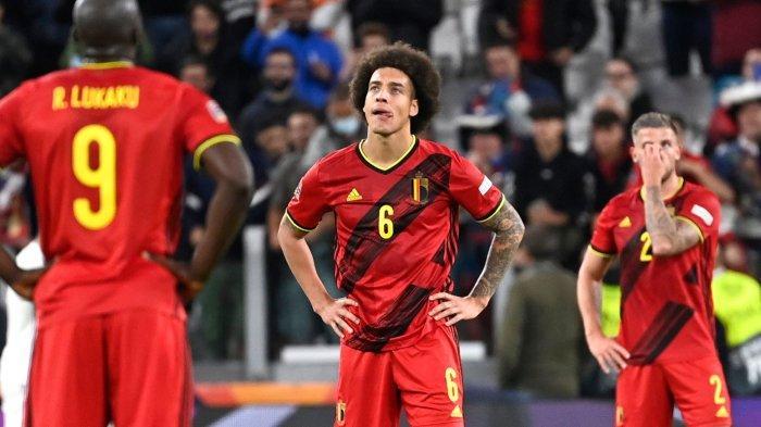 Ekspresi sedih pemain Belgia sai kalah dari Prancis dalam semifinal UEFA Nations League