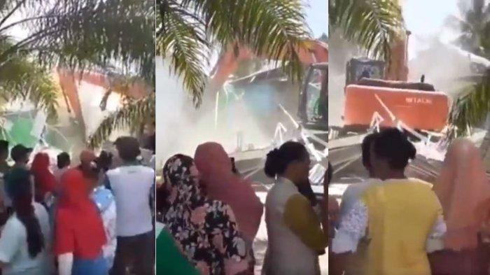 VIDEO Viral karena Cemburu, Istri Tua Ini Hancurkan Rumah istri Muda Pakai Eskavator, Tontonan Warga