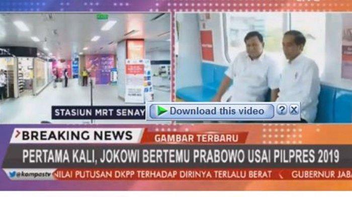 FB LIVE Jokowi dan Prabowo Ngobrol di Atas Kereta MRT Gerbong Nomor 2, Pakai Baju Putih Semua