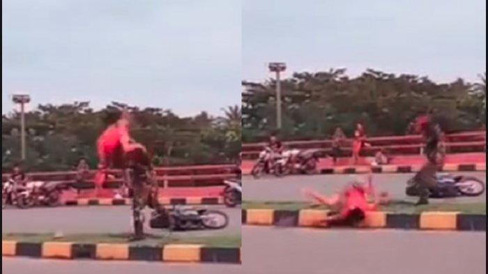Video Detik-detik Prajurit TNI Smackdown Remaja Menabraknya Saat Balapan Liar, Langsung Terpental!