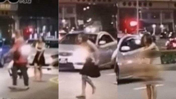 VIDEO Detik-detik Gadis Cantik Nekat Buka Baju di Pinggir Jalan Nyaris Tanpa Busana, Teriak Ini