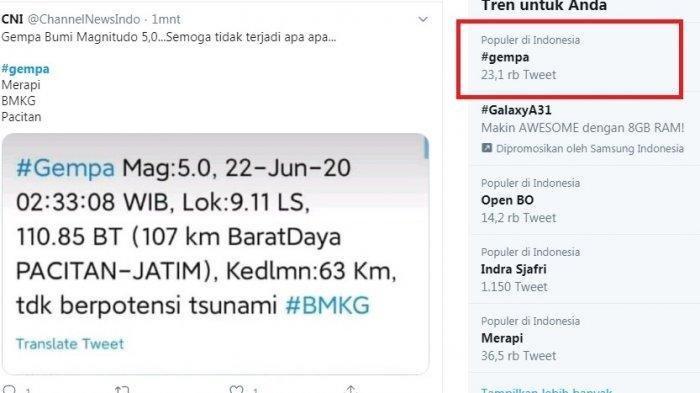 Gempa Berpusat di Pacitan Getarannya Terasa Hingga Ke Yogyakarta, Begini Cuitan Netizen di Twitter
