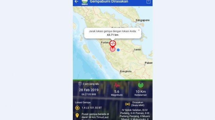 Gempa di Pasaman Terasa hingga ke Bungo, Jarak ke Lokasi Gempa Sekira 94 Km