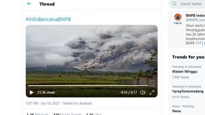 VIDEO Luncuran Awan Panas Gunung Semeru Meletus 4,5 Km, Rekaman Twitter BNPB