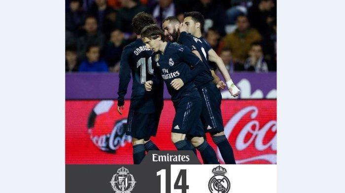 Hasil Liga Spanyol Real Madrid vs Real Valladolid Skor 4-1, Sepakan Luka Modric Lengkapi Kemenangan