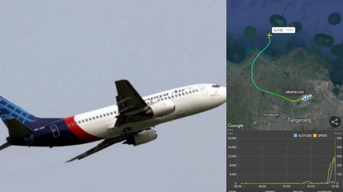 Ilustrasi rute pesawat Sriwijaya Air Jakarta-Pontianak yang hilang kontak