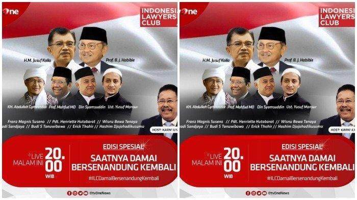 Nonton Live Streaming ILC TV One, Selasa 16 April 2019, Ada Mahfud MD, Jusuf Kalla hingga BJ Habibie