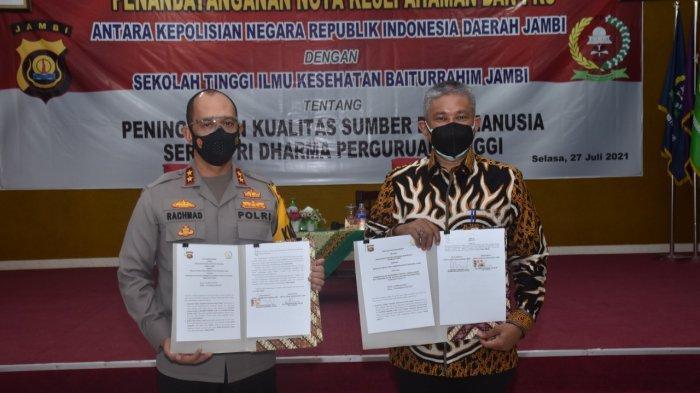 Polda Jambi Lakukan Penandatanganan Nota Kesepahaman dan PKS dengan STIKES Baiturrahim Jambi