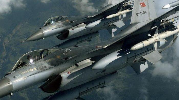 Ilustrasi jet tempur F-16.