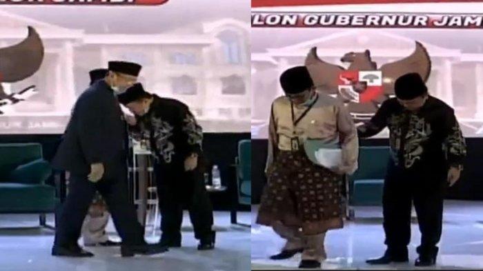 Debat Perdana Calon Gubernur Jambi, Al Haris Cium Tangan Lalu Gandeng Fachrori Turun Panggung