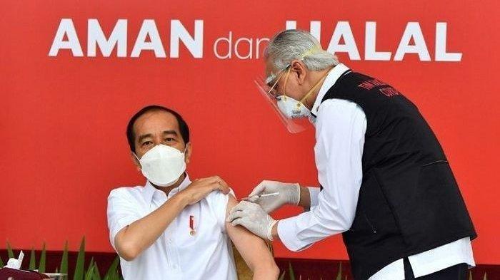Presiden Joko Widodo atau Jokowi perdana disuntik vkasin Covid-19 Sinovac.