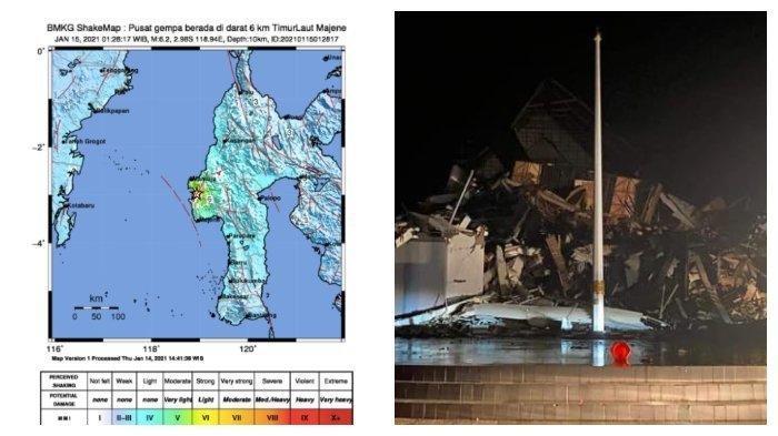 BMKG: Lagi, gempa bumi 6,2 SR di Majene, Sulawesi Barat, Jumat (15/1/2021) dini hari. Kantor Gubernur Sulbar ambruk, warga berlarian.