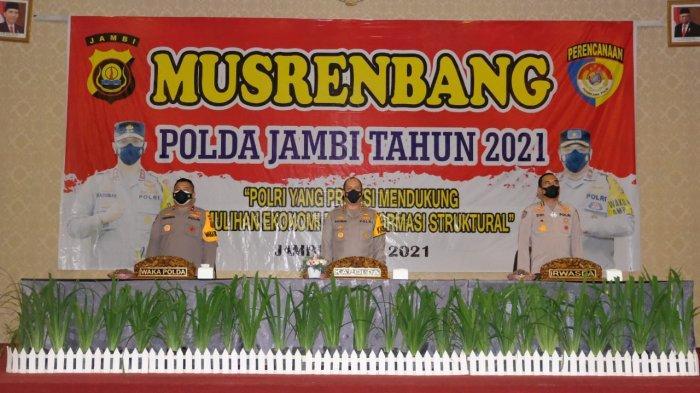 Musrenbang Polda Jambi Tahun 2021 di RCC Kota Jambi, Selasa (6/7/21) dihadiri Kapolda dan Wakapolda Jambi.